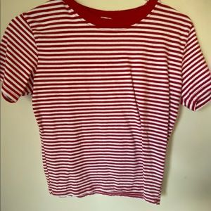 Pacsun Red and White Striped Shirt
